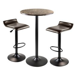 Winsome Cora 3 Piece Round Pub Table with 2 Swivel Stools