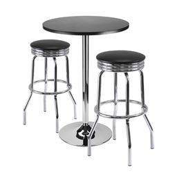 Winsome 3-Piece Summit Bar / Pub Table Round Top With 2 Swivel Stools, Black Finish