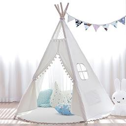 Joynote Teepee Kids Tent With Thick Mat & Carry Case & Decorations Star Stickers & Flag 5 Wooden Poles Canvas Tipi (White)