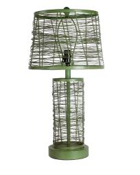 Mesh Wire Metal Table Lamp with Empire Shade and Round Base, Green