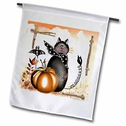 3dRose fl_4422_1 Halloween Cat, Garden Flag, 12 by 18-Inch