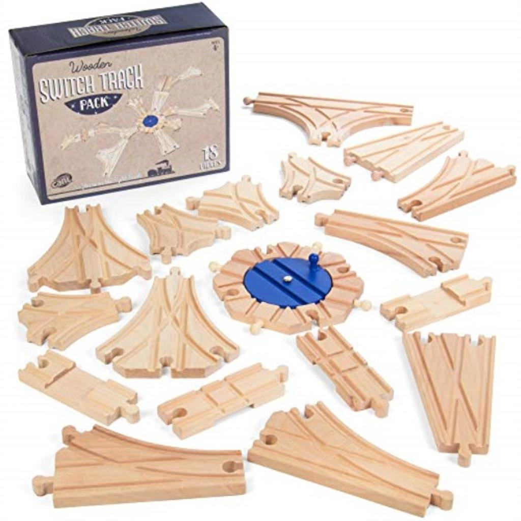 Switch Track Wooden Train Set (18 pcs.) - 8 Way Turntable Rail Station Accessory, Curved Switch Tracks, Basic and Advanced Pieces - Expansion Compatible with All Major Classic Toy Train Hobby Brands