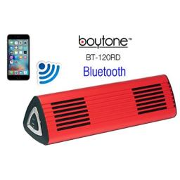 Boytone BT-120RD Portable Wireless Bluetooth Speaker, Built-in Microphone, 2 Stereo Speaker, Rechargeable Battery. Aluminum Casing. Works with iPhone, iPad, Samsung, Tablets and Other Smart Phones
