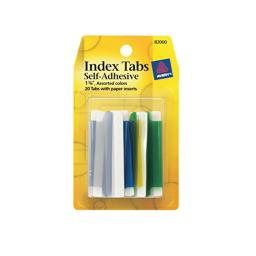 Avery Index Tabs with Writable Inserts, 1.75 Inches, 20 Assorted Tabs (82000)