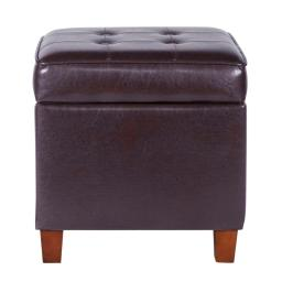 Square Shape Leatherette Upholstered Wooden Ottoman with Tufted Lift Off Lid Storage, Brown