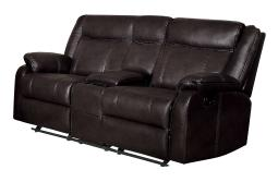 Leatherette Upholstered Dual Glider Love Seat With Console, Brown