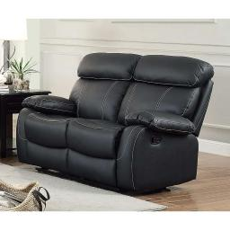 Top Grain Leather Upholstered Double Reclining Loveseat, Black