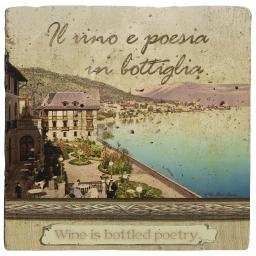 Thirstystone Ambiance Travertine Coaster, Multicolored, Italian Inspirations Bottled Poetry