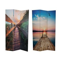 Wooden 3 Panel Room Divider with Beach Theme Print, Multicolor
