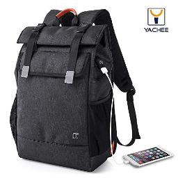 Yachee Anti-Theft Laptop Backpack, Outdoor 35L Lightweight RollTop Design Waterproof Multipurpose Large Rucksack with USB Charging Port Fits up to 17 inch Computer for Weekender Travel Business