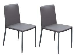 Modern Style Leatherette Upholstered Dining Chairs with Metal Tapered Legs, Gray