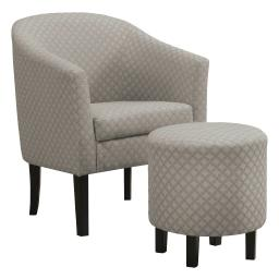 Offex Geometric Trellis Pattern Barrel Accent Chair and Circular Ottoman Set - Light Grey,Beige