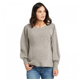 Isabel Maternity by Ingrid & Isabel Long Statement Sleeve Textured Sweater XX-Large Tan Grey