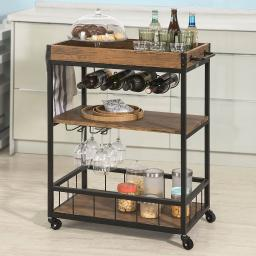 Haotian Bar Serving Cart Home Myra Rustic Mobile Kitchen Serving cart,Industrial Vintage Style Wood Metal Serving Trolley (FKW56-N)