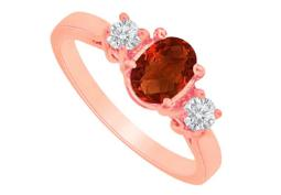Garnet and CZ Three Stones Ring in 14K Rose Gold
