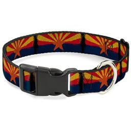 Buckle-Down PC-W30156-NL Arizona Flag Distressed Painting Plastic Clip Collar, Narrow Large/9-15""