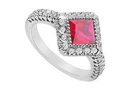Created Ruby and Cubic Zirconia Ring 10K White Gold 1.50 Carat Total Gem Weight