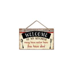 Highland woodcrafters  llc 4100119 9 5x5 5 welcome to my kitchen wood sign