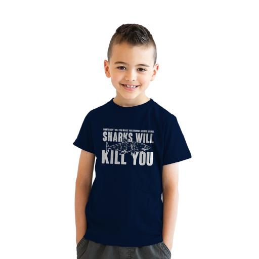 13318b17d1 Youth Sharks Will Kill You Funny Shark T shirt Sarcasm Novelty Offensive  Shirts