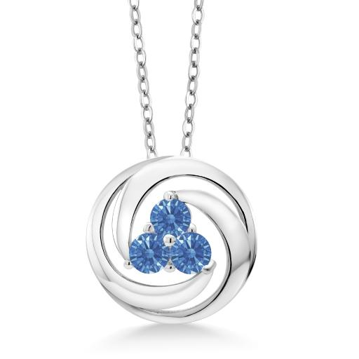 878086f485a2a 925 Sterling Silver Pendant Set with Round Fancy Blue Zirconia from  Swarovski