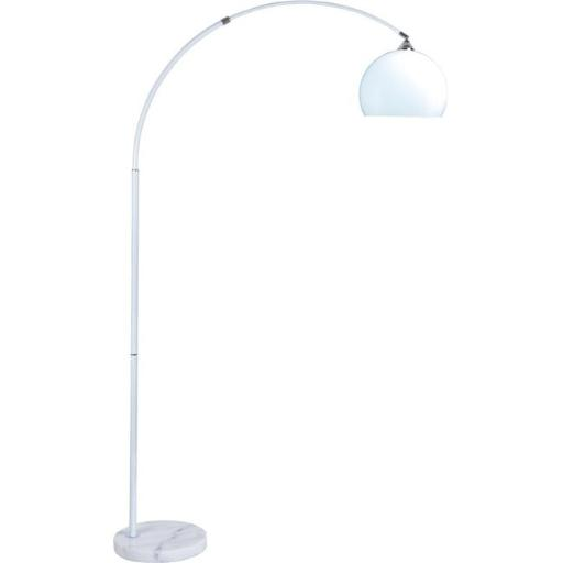 Q-Max 6937WH Modern Hanging Floor Lamp with Marble Base & White Shade