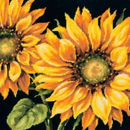 "Dramatic Sunflower Needlepoint Kit-14""X14"" Stitched In Wool 71-20083"