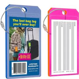 Brite I.d. 25011-bp Virtually Indestructible Neon Acrylic Luggage Tag - Blue & Pink