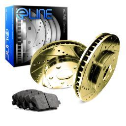 [FRONT] Gold Edition Drilled Slotted Brake Rotors & Semi-Met Brake Pads