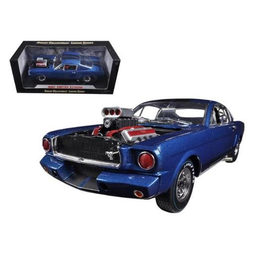Shelby Collectibles SC510 1965 Ford Shelby Mustang GT350R with Racing Engine Blue & Black Stripes 1-18 Diecast Car Model