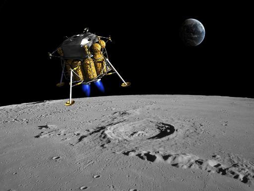 A lunar lander begins its descent to the moon's surface from an altitude of 40,000 feet Poster Print E01ZIQDPQNZTEKMR