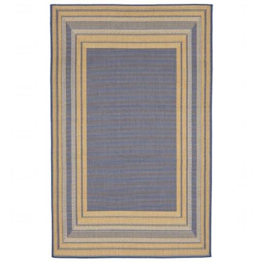 Liora Manne TER58276153 Wilton Woven Terrace Etched BDR 100 Percent Polypropylene Border Rug, Blue - 4 ft. 10 in. x 7 ft. 6 in.
