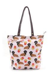 Pink Hot Dog and Fries Funny Weiner Puppy Tote Bag