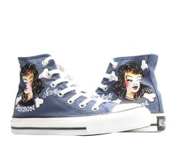Converse Chuck Taylor All Star Sailor Jerry Poison Girl Navy Hi Sneakers 1Y814