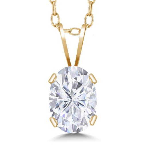 14K Yellow Gold Pendant Forever Brilliant (GHI) Oval 0 90ct (DEW) Created  Moissanite by Charles & Colvard