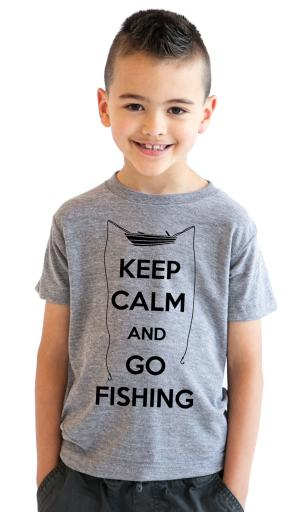Youth Keep Calm and Go Fishing T Shirt Funny Fish Shirt Fishes Tee for Kids