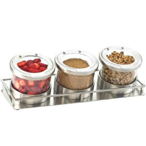 Cal Mil 1850-5-55HL Mixology Stainless Steel 3 Jar Horizontal Display with Hinged Lids - Silver