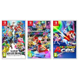 Nintendo Switch Super Smash Bros, Mario Tennis Aces and Mario Kart 8 Ultimate Party Bundle Import Region Free