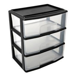 Home products 05543bk.01 large three drawer cart blck c