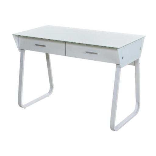 Ultramodern Glass Computer Desk with Drawers - White - 43.25 x 22.75 x 30.25 in.