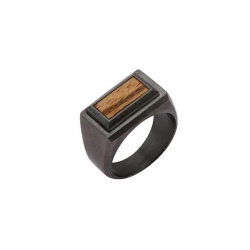 Inox Jewelry FR14458-11 Ring Stainless Steel Ring with Inlayed Zebra Wood, 11 in.