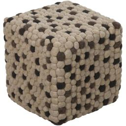Surya Rug POUF-30 Cube Pouf-Ottomans Tans with Ivory 18 x 18 x 18 in.