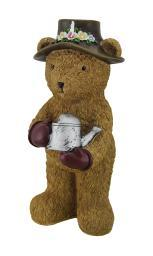 12 in. Indoor/Outdoor Garden Bear w/Watering Can Statue