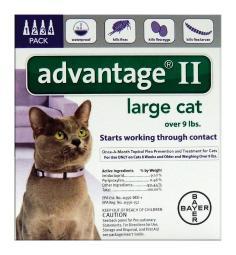 Bayer Advantage II Liquid Cat Flea Drops Imidacloprid/Pyriproxyfen 0.108 oz. - Case Of: 1;