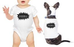 Double Trouble Pet Baby Matching T-Shirts White Onesie Gift Ideas