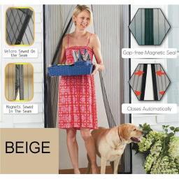 5 Star Super Deals B4036679 Premium Magnetic Mesh Screen Door, Beige - Regular