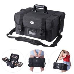 1680D Nylon Makeup Train Case Pockets Travel Hard Bag Artist Cosmetic Organizer