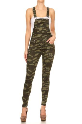 Women's Juniors Stretch Camouflage 3 Button Adjustable Straps Overalls