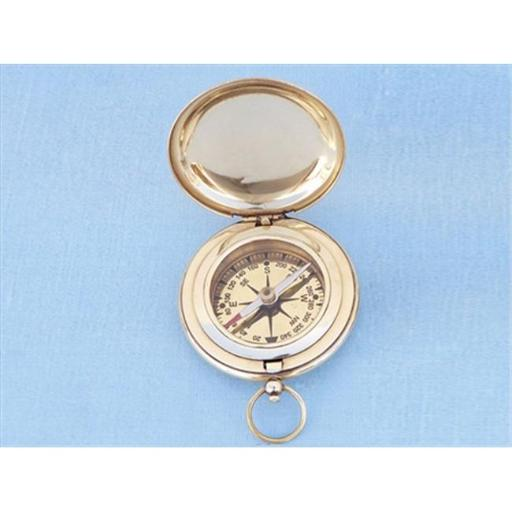 Solid Brass Captains Push Button Compass 3 in. Compasses Decorative Accent