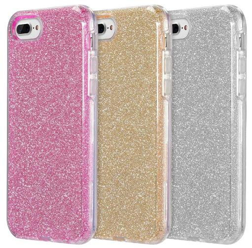 Hybrid Glitter Flex Skin Case Hard Cover for iPhone 8 Plus, 7 Plus, 6 Plus