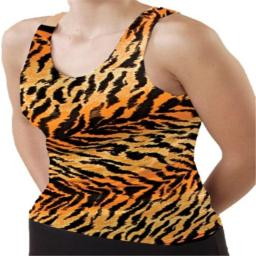 Pizzazz Performance Wear 9800AP -TIG -AS 9800AP Adult Animal Print Racer Back Top - Tiger - Adult Small